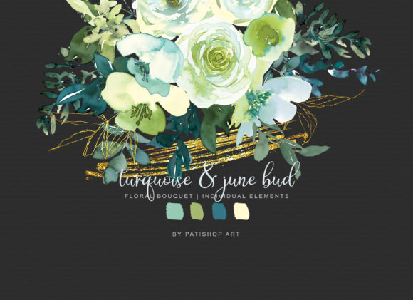 Watercolor Turquoise & June Bud Bouquet Graphic Illustrations By Patishop Art