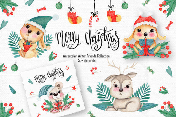 Print on Demand: Watercolor Winter Friends Graphic Illustrations By tanatadesign