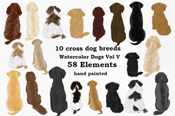 Watercolor Cross Breed Dogs Grafik Illustrationen von LeCoqDesign
