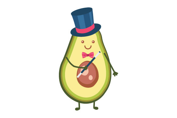Download Free Avocado Doing Magic Avocado Person Wearing A Top Hat And Holding for Cricut Explore, Silhouette and other cutting machines.