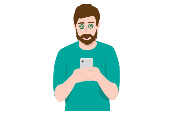 Download Free Man Looking At Phone In Addicted Manner Svg Cut File By Creative for Cricut Explore, Silhouette and other cutting machines.