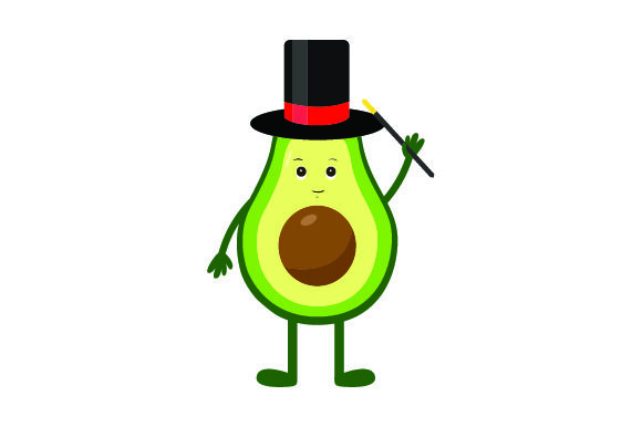 Download Free Avocado Wearing A Top Hat And Holding A Magic Wand Svg Cut File for Cricut Explore, Silhouette and other cutting machines.