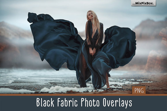 Print on Demand: Black Fabric Photo Overlays Graphic Layer Styles By MixPixBox