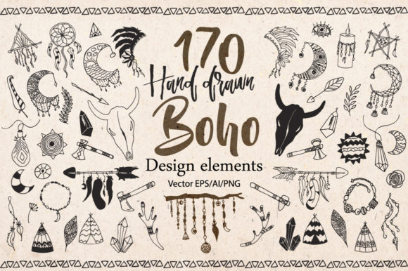 Download Free Boho Tribal Design Elements Clipart Graphic By Evgeniiasart for Cricut Explore, Silhouette and other cutting machines.