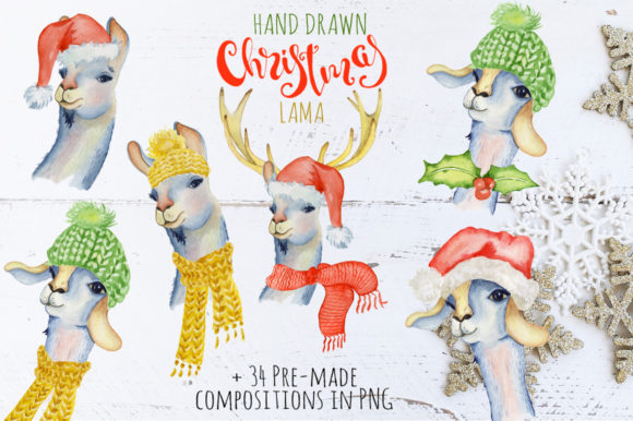 Christmas Llama Watercolor Creator Vol.1 Graphic Illustrations By EvgeniiasArt