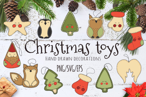 Christmas Toys Hand Drawn Decorative Set Graphic By EvgeniiasArt Image 1