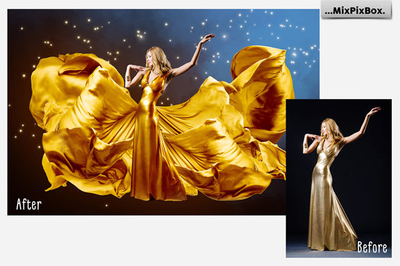 Print on Demand: Gold Satin Photo Overlays Graphic Layer Styles By MixPixBox - Image 3