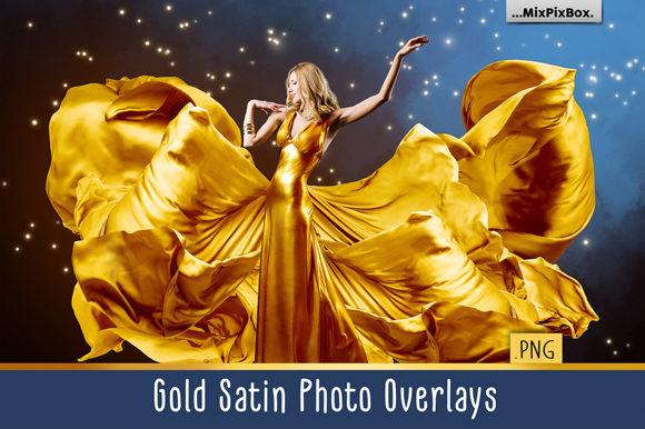 Print on Demand: Gold Satin Photo Overlays Graphic Layer Styles By MixPixBox