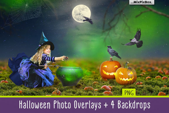 Print on Demand: Halloween Photo Overlays Graphic Layer Styles By MixPixBox