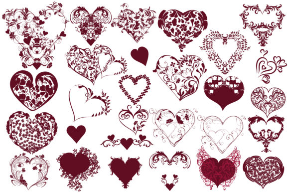 Download Free Heart Beat Set Of Vector Swirl Hearts Grafico Por Fleurartmariia for Cricut Explore, Silhouette and other cutting machines.