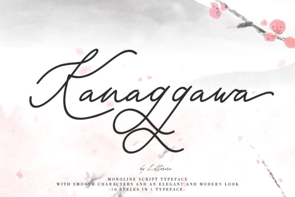 Print on Demand: Kanaggawa Script & Handwritten Font By thomasaradea