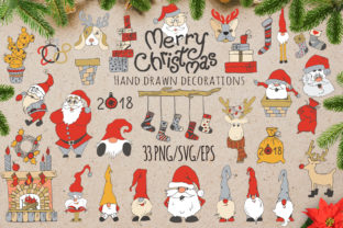 Merry Christmas Hand Drawn Decorations Graphic By EvgeniiasArt