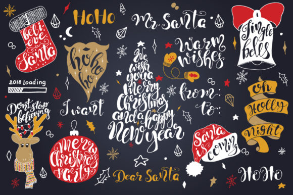Download Free Merry Christmas Quotes Lettering Set Graphic By Evgeniiasart SVG Cut Files