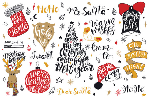 Download Free Merry Christmas Quotes Lettering Set Graphic By Evgeniiasart for Cricut Explore, Silhouette and other cutting machines.