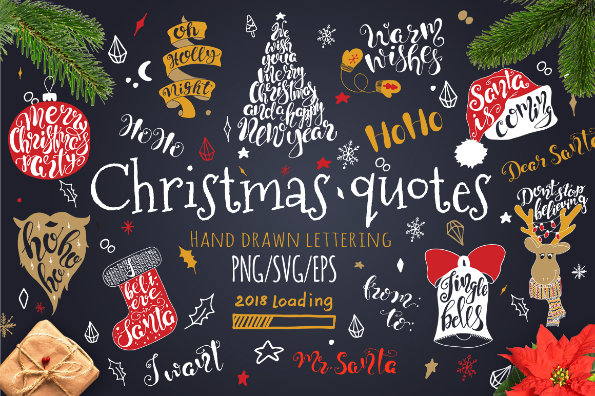 Merry Christmas Quotes Lettering Set Graphic By Evgeniiasart