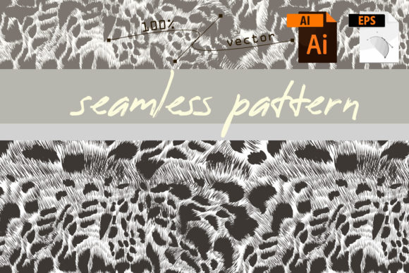 Vector Seamless Leopard Monochromic Patt Graphic Patterns By fleurartmariia