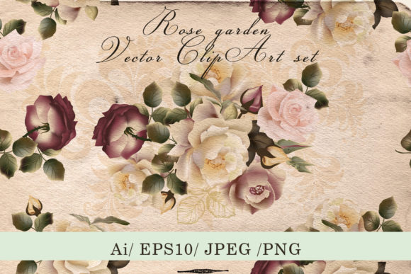 Vintage Rose Garden Vector Clip Art Graphic Objects By fleurartmariia