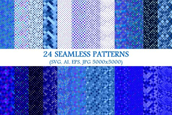 Download Free 24 Seamless Blue Square Patterns Graphic By Davidzydd Creative for Cricut Explore, Silhouette and other cutting machines.