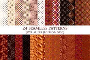 24 Seamless Brown Square Patterns Graphic By davidzydd