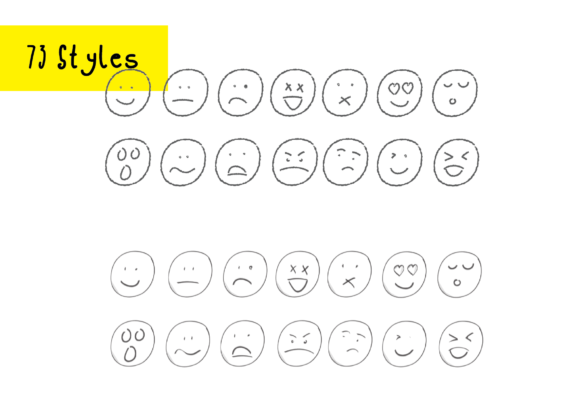 Print on Demand: 1022 Smilies Hand-drawn Emoji Faces Graphic Crafts By GraphicsBam Fonts - Image 2