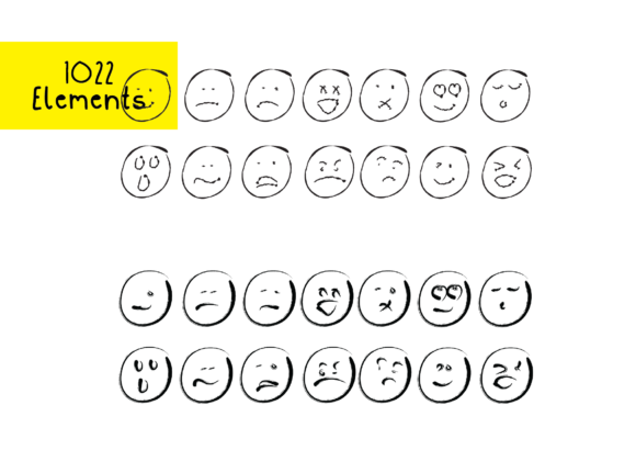 Print on Demand: 1022 Smilies Hand-drawn Emoji Faces Graphic Crafts By GraphicsBam Fonts - Image 3