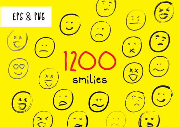 Print on Demand: 1022 Smilies Hand-drawn Emoji Faces Graphic Crafts By GraphicsBam Fonts