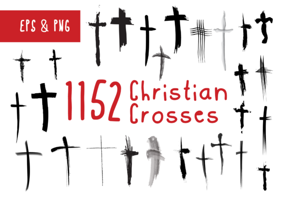 Print on Demand: 1152 Christian Crosses Religious Symbols Graphic Crafts By GraphicsBam Fonts