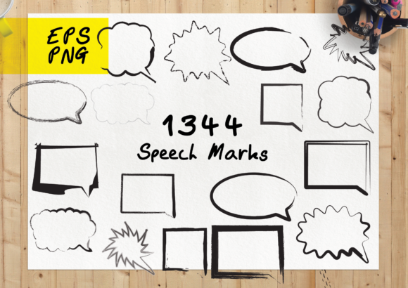 Print on Demand: 1344 Speech Marks Bubbles Graphic Crafts By GraphicsBam Fonts
