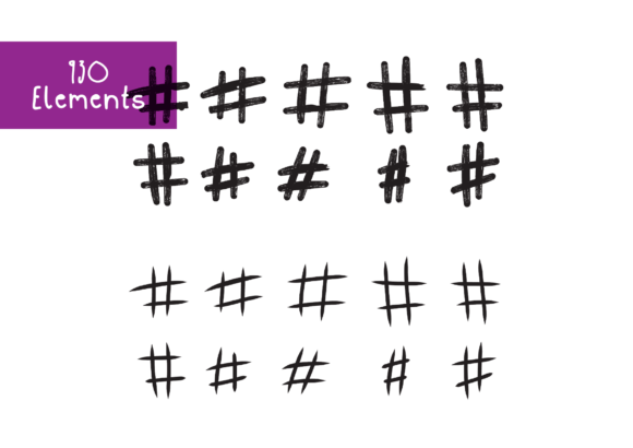 Print on Demand: 930 Hashtags Graphic Crafts By GraphicsBam Fonts - Image 3