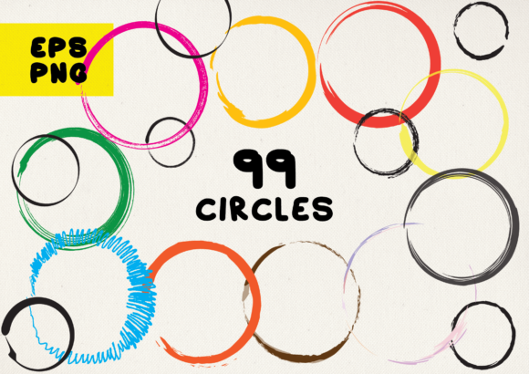 Print on Demand: 99 Hand-drawn Circles Graphic Crafts By GraphicsBam Fonts