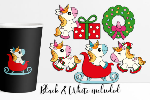 Download Free Christmas Unicorn Graphic By Darrakadisha Creative Fabrica for Cricut Explore, Silhouette and other cutting machines.