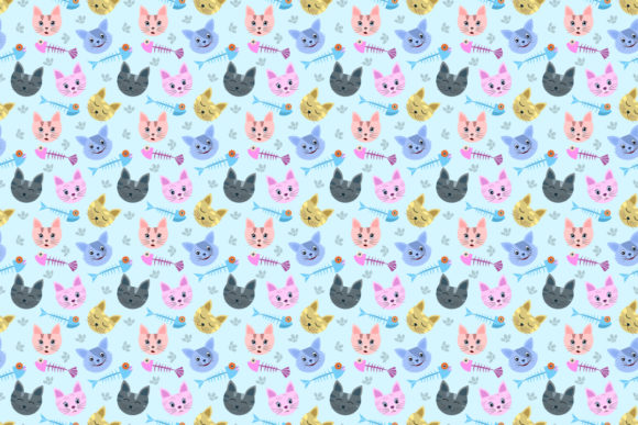 Cute Cat Head and Fish Bone Pattern. Graphic Patterns By ranger262