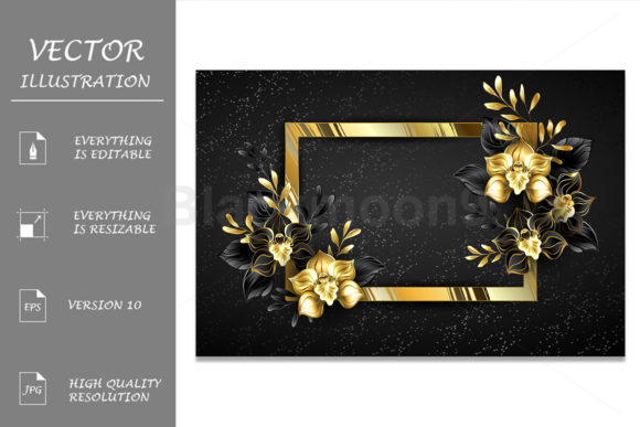Golden Banner with Black Orchids Graphic Illustrations By Blackmoon9