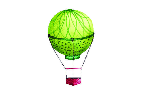 Green Hot Air Balloon Watercolor Style Svg Cut File By