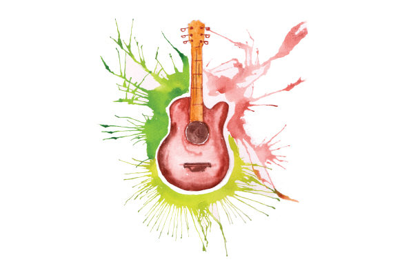 Guitar in Paint Splatter Watercolor Style Music Craft Cut File By Creative Fabrica Crafts