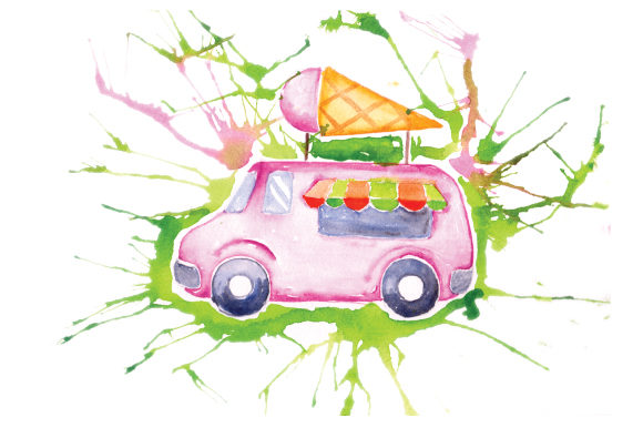 Download Free Ice Cream Truck In Paint Splatter Watercolor Style Svg Cut File for Cricut Explore, Silhouette and other cutting machines.