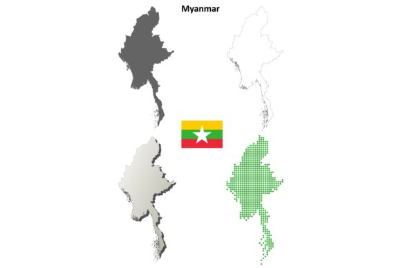 Download Free Myanmar Outline Map Set Graphic By Davidzydd Creative Fabrica for Cricut Explore, Silhouette and other cutting machines.