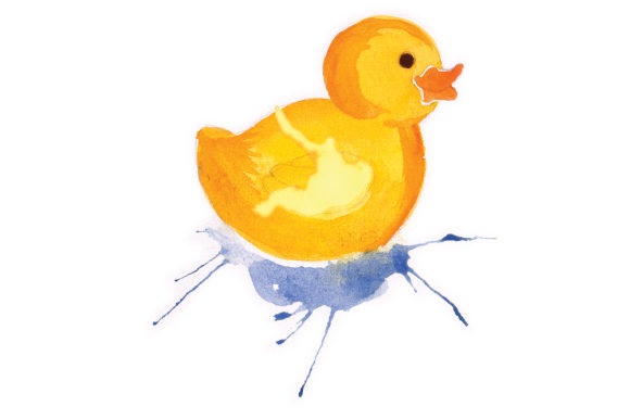 Rubber Duck in Paint Splatter Watercolor Style Badezimmer Plotterdatei von Creative Fabrica Crafts