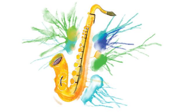Download Free Saxophone In Paint Splatter Watercolor Style Svg Cut File By for Cricut Explore, Silhouette and other cutting machines.
