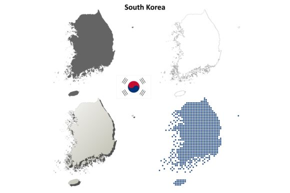 Download Free South Korea Outline Map Set Graphic By Davidzydd Creative Fabrica for Cricut Explore, Silhouette and other cutting machines.