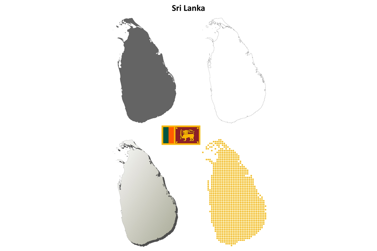 Sri Lanka Outline Map Set