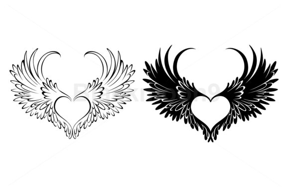 Two Angel Hearts Graphic Illustrations By Blackmoon9