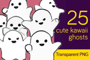 Download Free 25 Cute Ghosts Charcoal Kawaii Style Graphic By Milaski for Cricut Explore, Silhouette and other cutting machines.