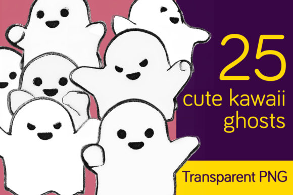 Print on Demand: 25 Cute Ghosts - Charcoal Kawaii Style Graphic Illustrations By Milaski