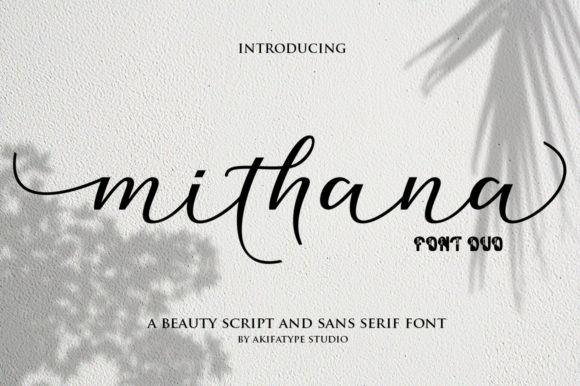 Print on Demand: Mithana Duo Script & Handwritten Font By akifatype