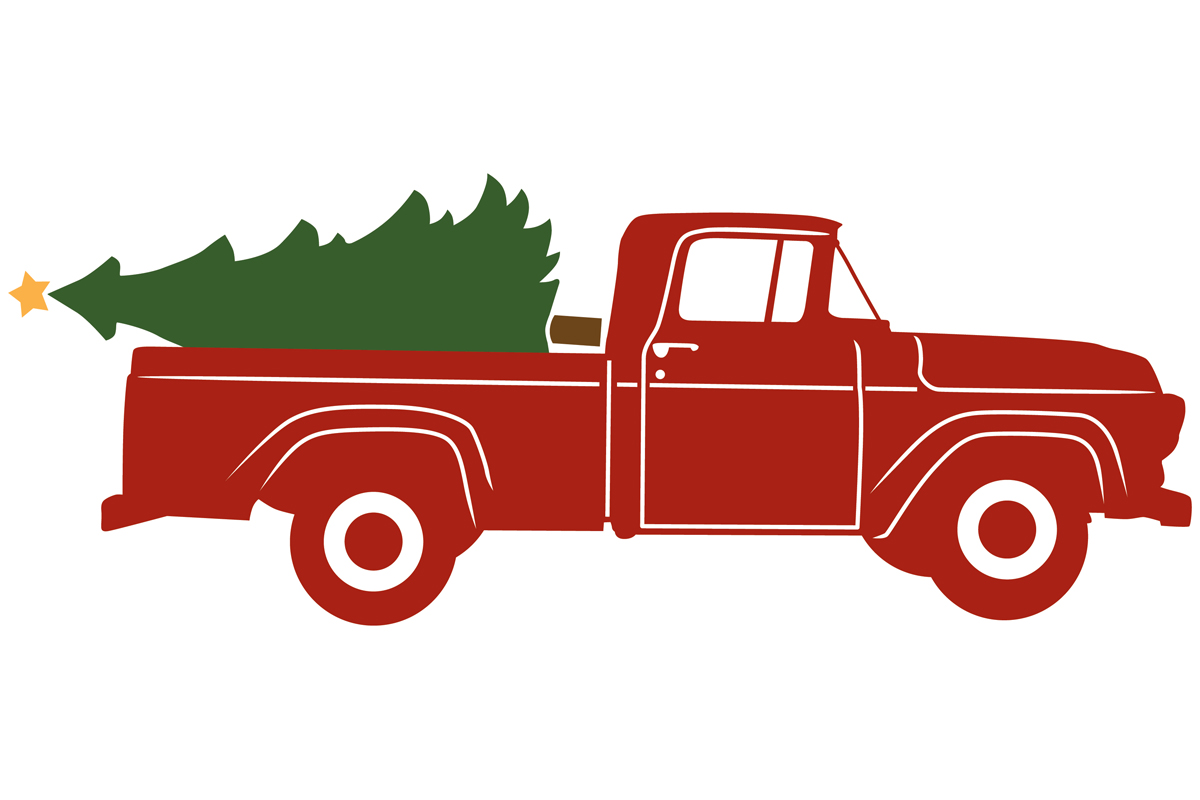 Download Free 1957 Antique Pickup With Christmas Tree Graphic By for Cricut Explore, Silhouette and other cutting machines.