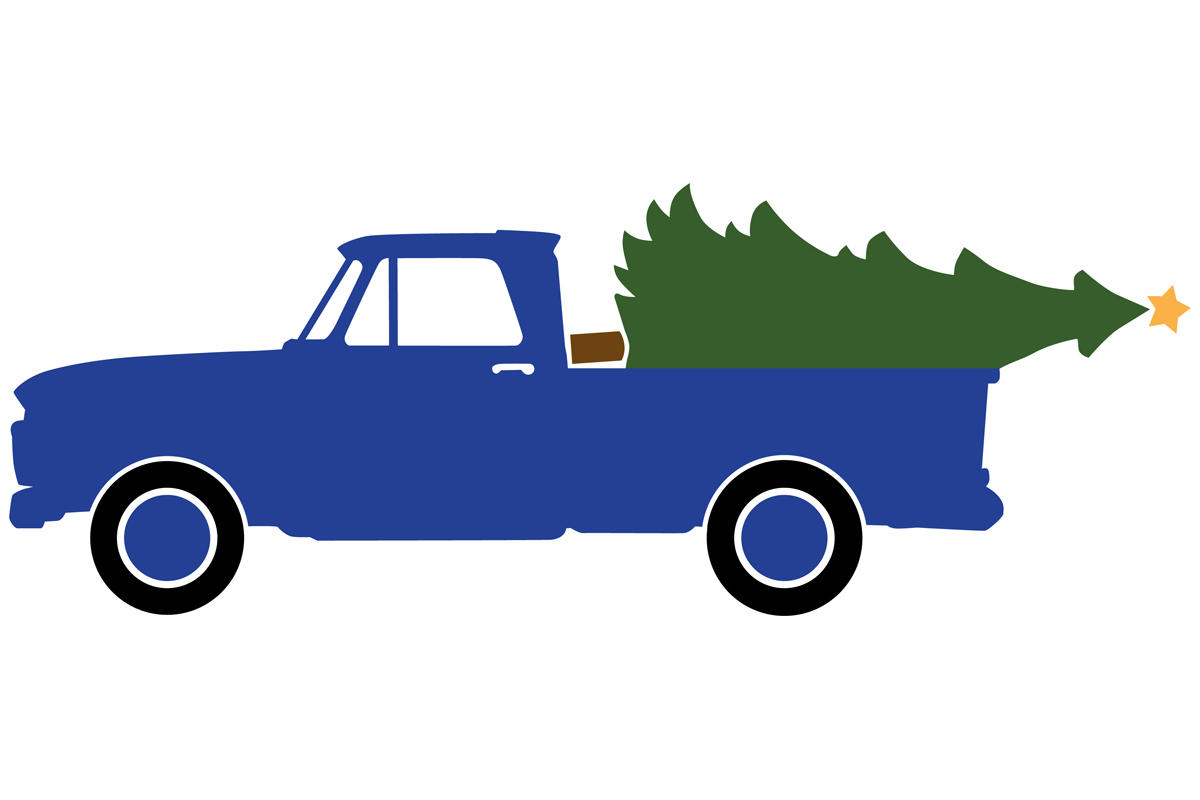 Download Free 1965 Antique Pickup With Christmas Tree Graphic By for Cricut Explore, Silhouette and other cutting machines.