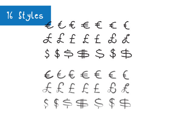 Print on Demand: 2016 Euro Pound Dollar Currency Symbols Graphic Crafts By GraphicsBam Fonts - Image 4