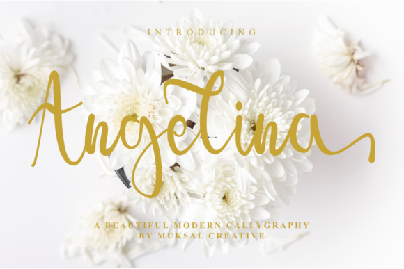 Print on Demand: Angelina Script & Handwritten Font By Muksal Creative
