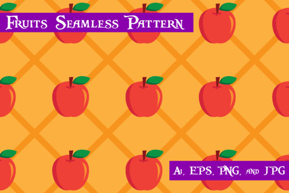 Print on Demand: Apple Fruits Seamless Pattern Graphic Patterns By purplespoonpirates